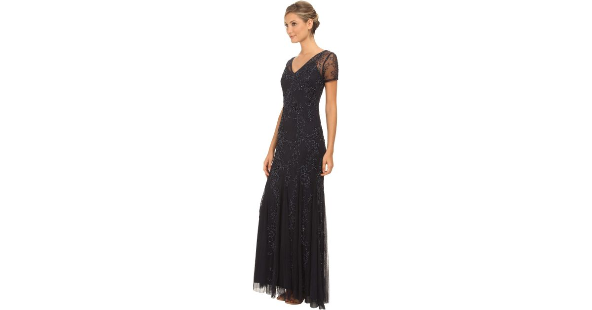 Lyst - Adrianna Papell Fully Beaded Gowns With Godets in Blue