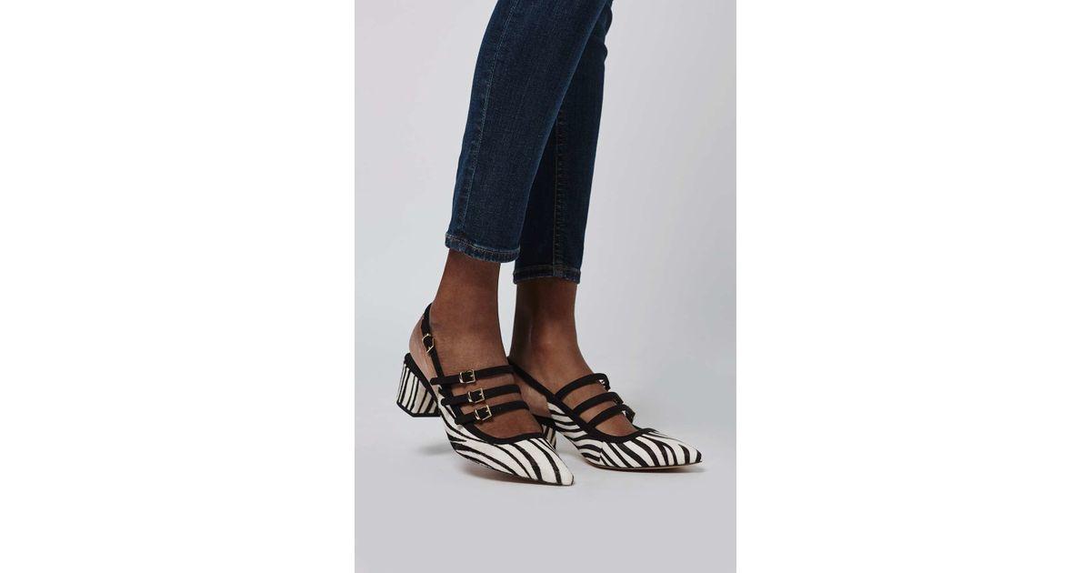 1a5a26ee399 Lyst - TOPSHOP Java Zebra Sling-back Mid Shoes in Black