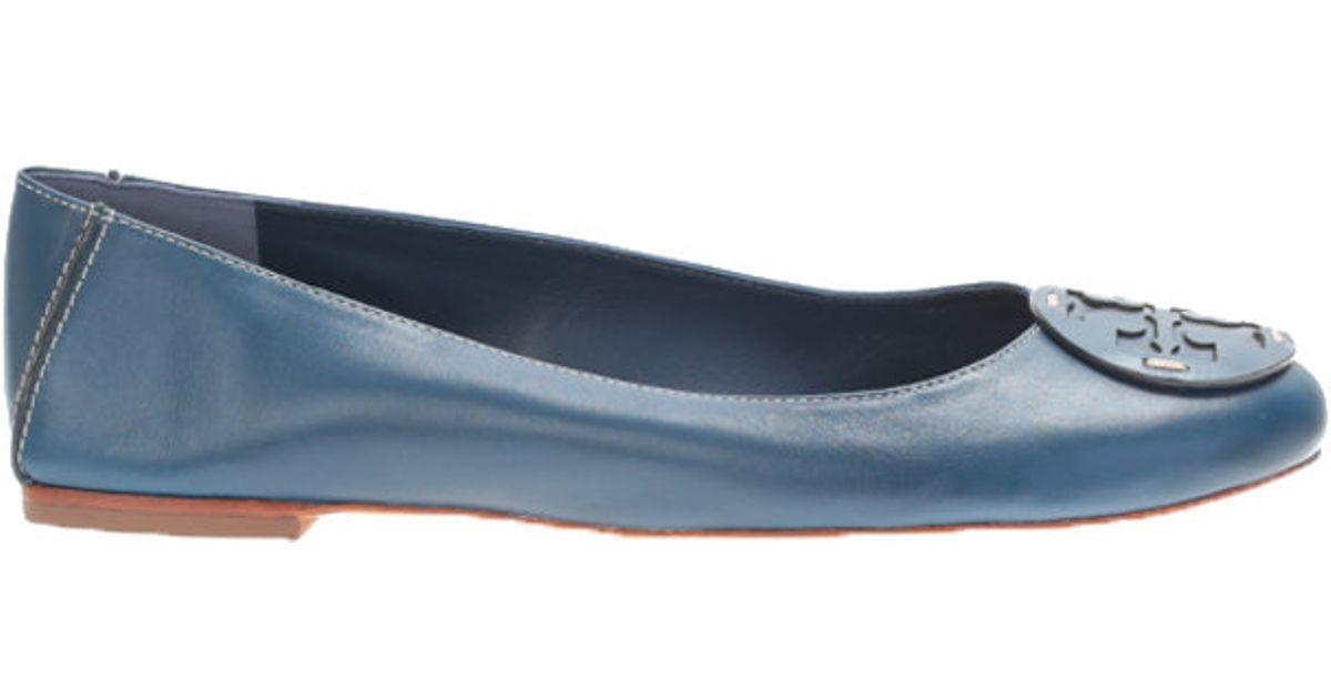 tory burch blue leather reva ballerina pumps in blue lyst. Black Bedroom Furniture Sets. Home Design Ideas