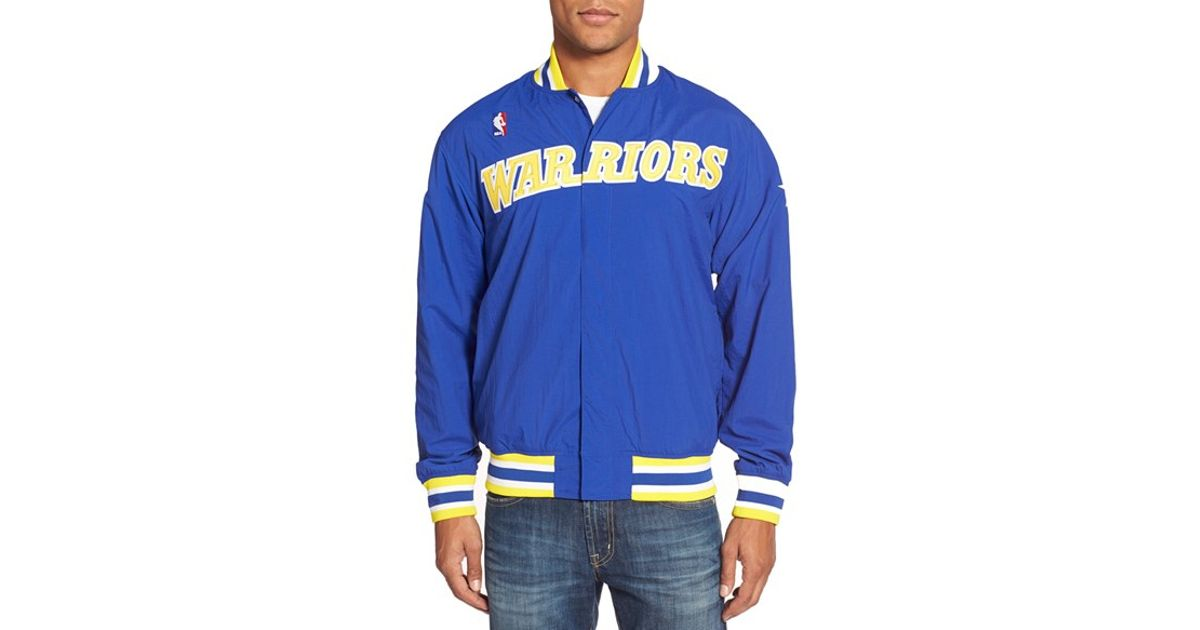 Lyst - Mitchell   Ness  golden State Warriors  Tailored Fit Authentic Warm-up  Jacket in Blue for Men da4776945