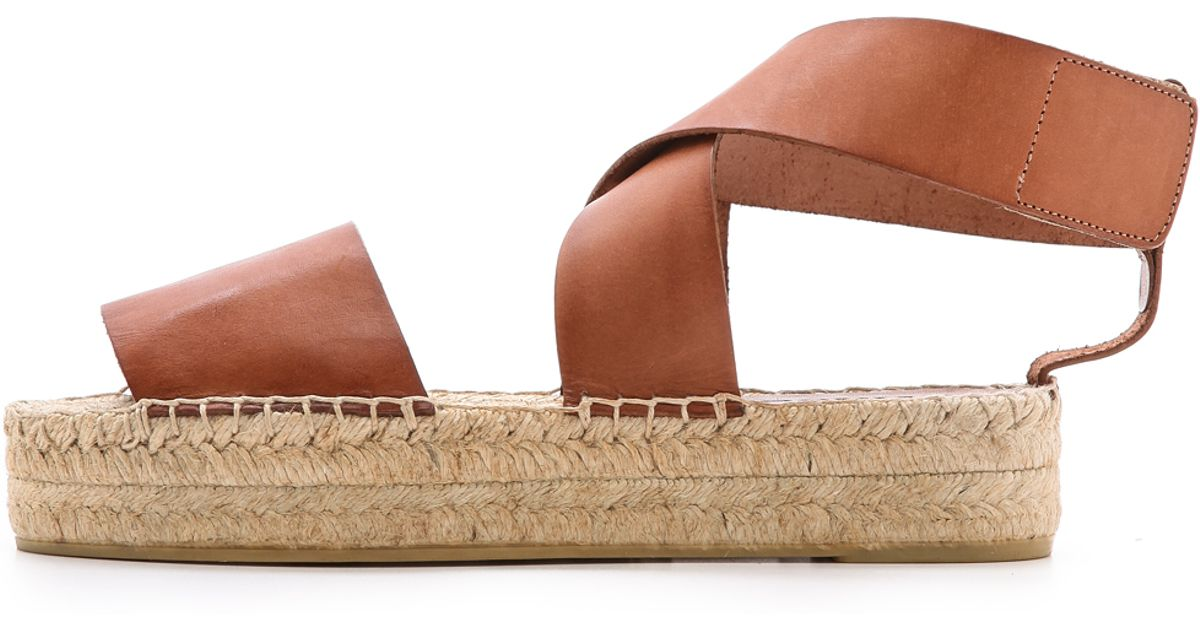 15449842b Vince Elise Espadrille Flat Sandals Luggage in Brown - Lyst