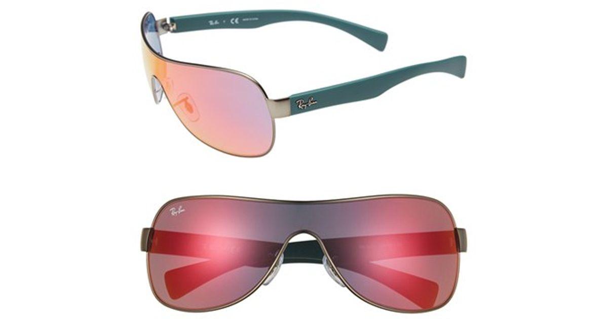 c544a7849c56b Ray-Ban 62mm Mirror Shield Sunglasses - Gunmetal  Orange Flash in Metallic  - Lyst