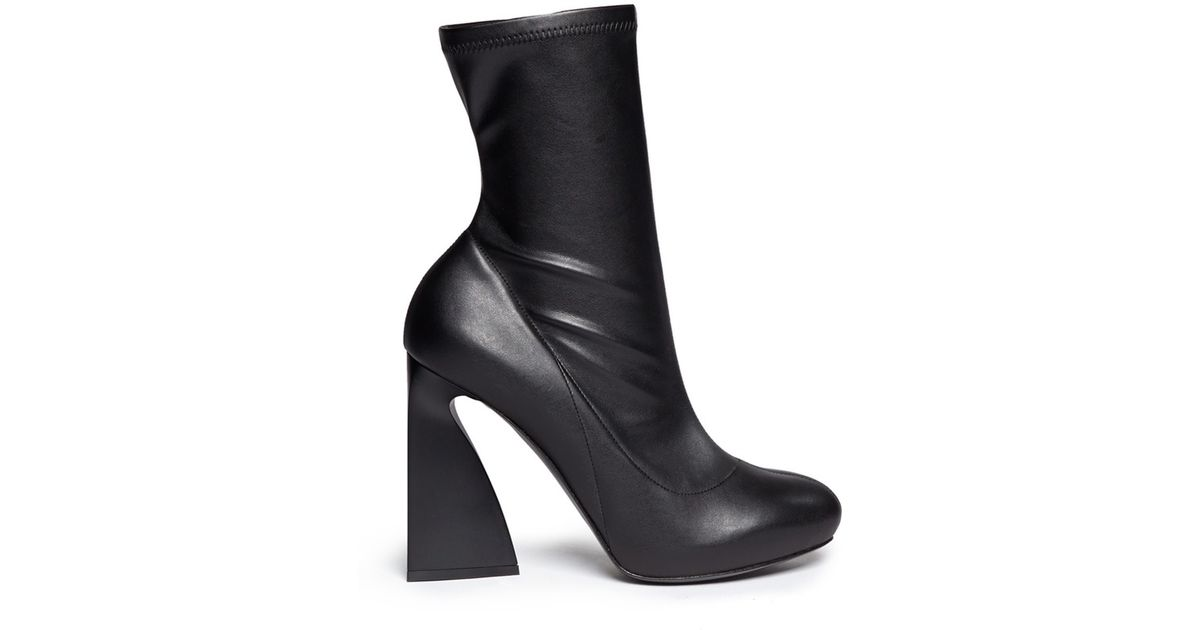 stella mccartney triangle block heel mid calf boots in