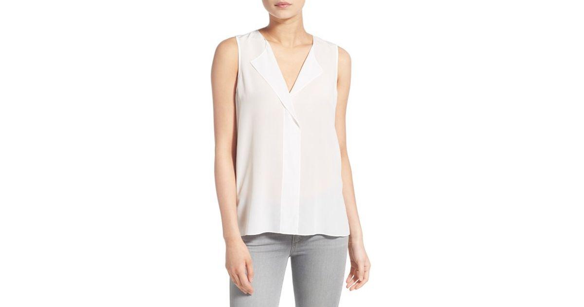 9f7e8b4fdb275 Lyst - Trouvé V-neck Sleeveless Silk Top in White