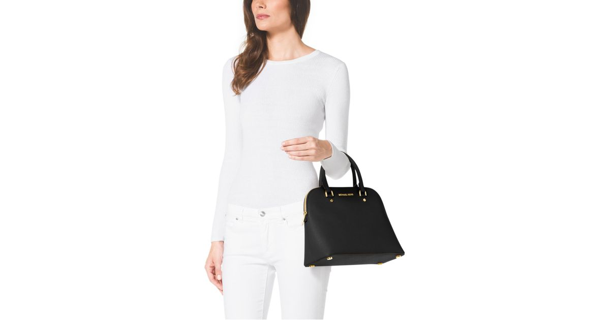 9747cea4a373d Lyst - Michael Kors Cindy Large Saffiano Leather Satchel in Black