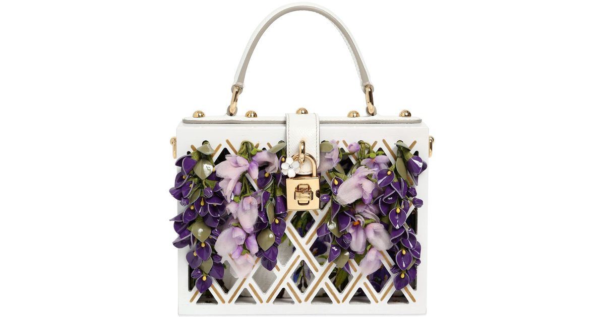 0020ca4e25 Dolce   Gabbana Dolce Wooden Bag With Floral Details in White - Lyst