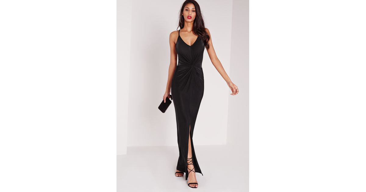 Lyst Missguided Strappy Slinky Knot Front Maxi Dress Black In Black