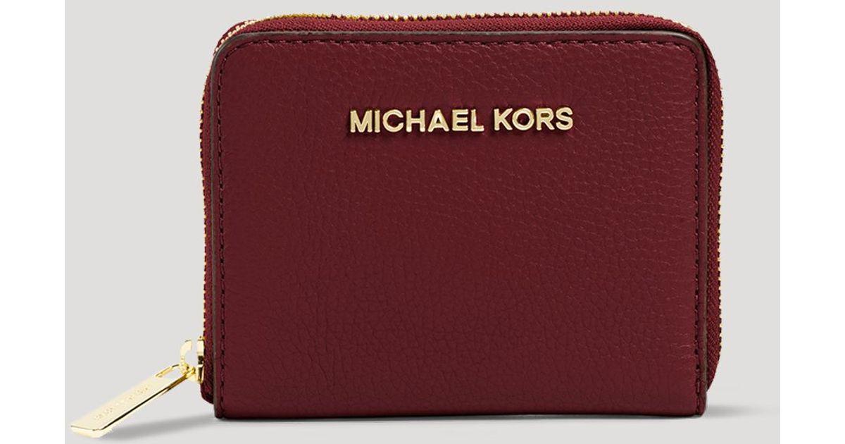 ca4b9599f9ea4 Lyst - MICHAEL Michael Kors Wallet - Bedford Zip Around Bi-fold in Red