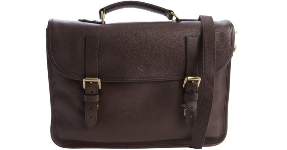 3e5c6a0f4a Mulberry Chocolate Pebbled Leather Elkington Briefcase in Brown for Men -  Lyst