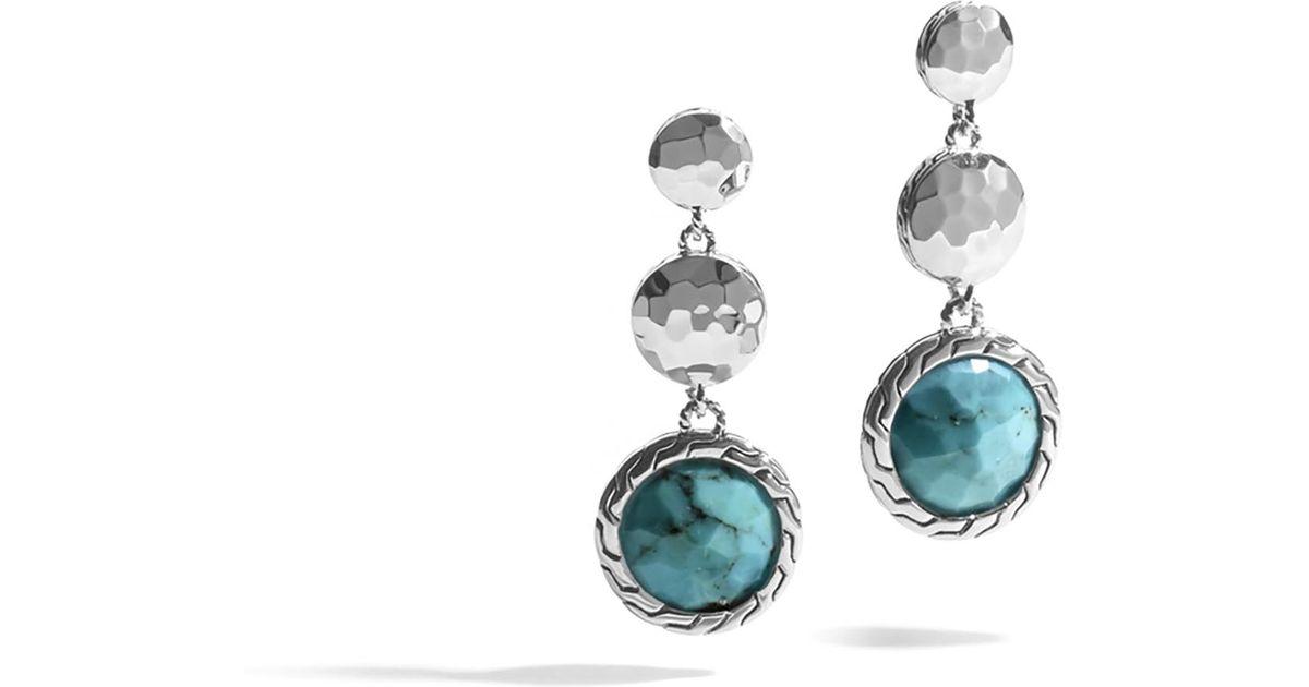 Lyst john hardy hammered triple drop earring with for John hardy jewelry earrings