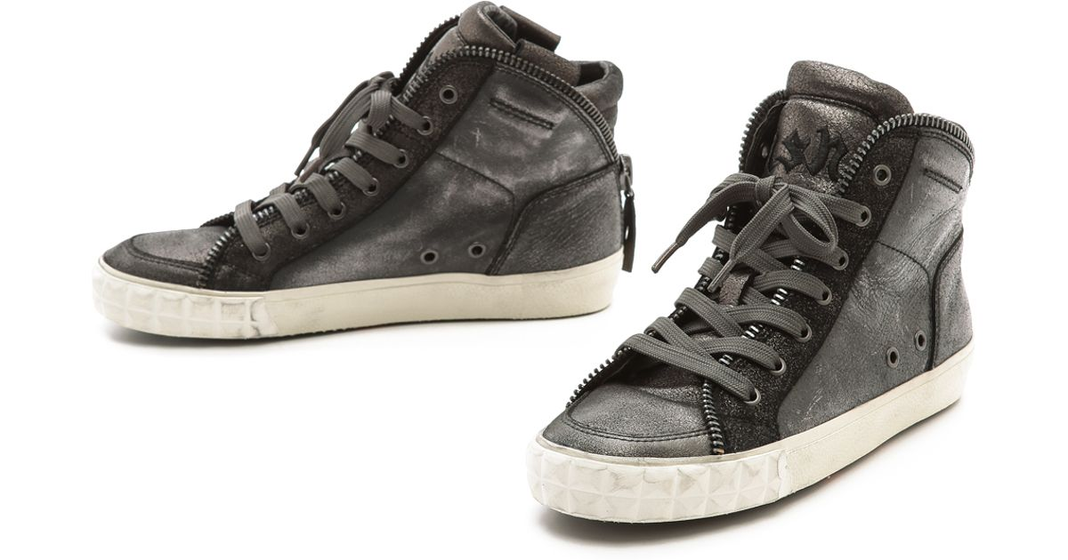 ac26e337a592a Lyst - Ash Shake High Top Zipper Sneakers - Black Graphite Graphite in Black