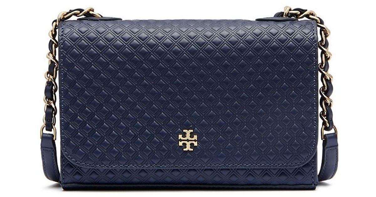 1a12943f9218 Lyst - Tory Burch Marion Embossed Shrunken Shoulder Bag in Blue