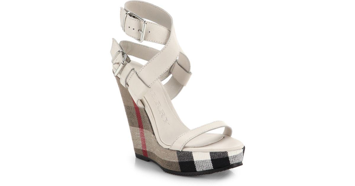 - Burberry Goldfinch Check-Wedge Sandals In Natural Lyst