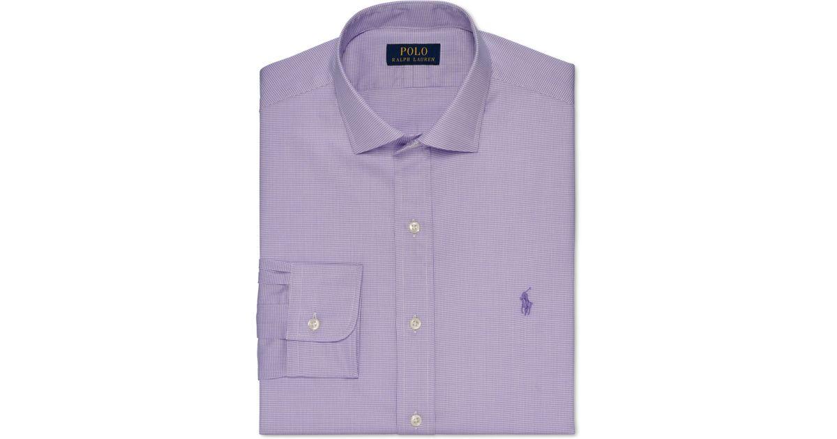 Polo ralph lauren slim fit purple check dress shirt in for Purple polo uniform shirts