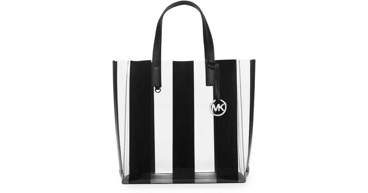 6b921151c5b0 Lyst - MICHAEL Michael Kors Eliza Large Striped Plastic Tote Bag in Black