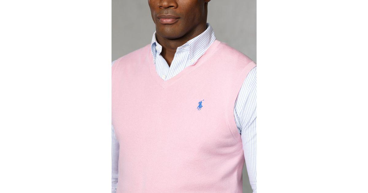 Polo ralph lauren Pima Cotton V-neck Vest in Pink for Men | Lyst