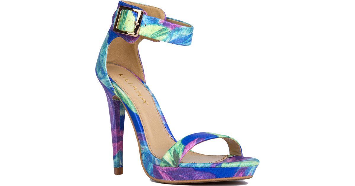 8b75668a1ff5 Lyst - AKIRA Blue Floral Print Ankle Strap Heels in Blue