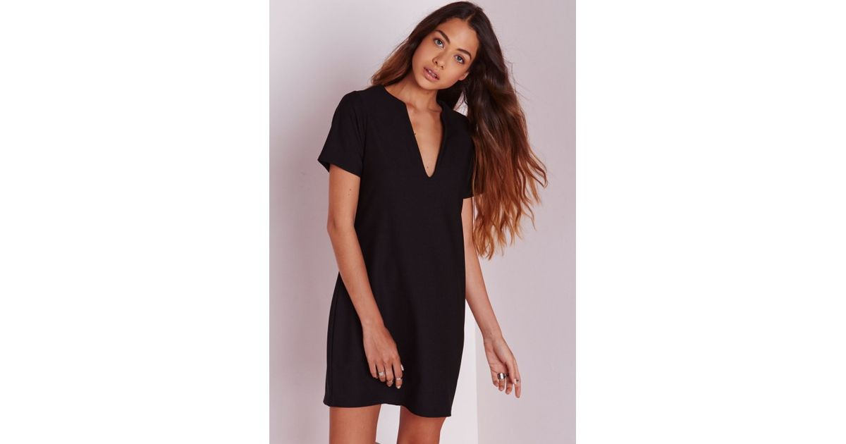 a81a62c88807 Lyst - Missguided Deep V Plunge Shift Dress Black in Black