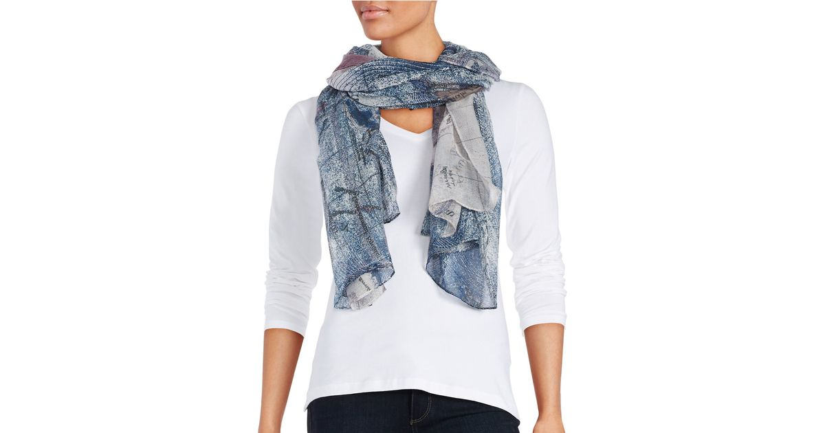 lord map print scarf in blue lyst