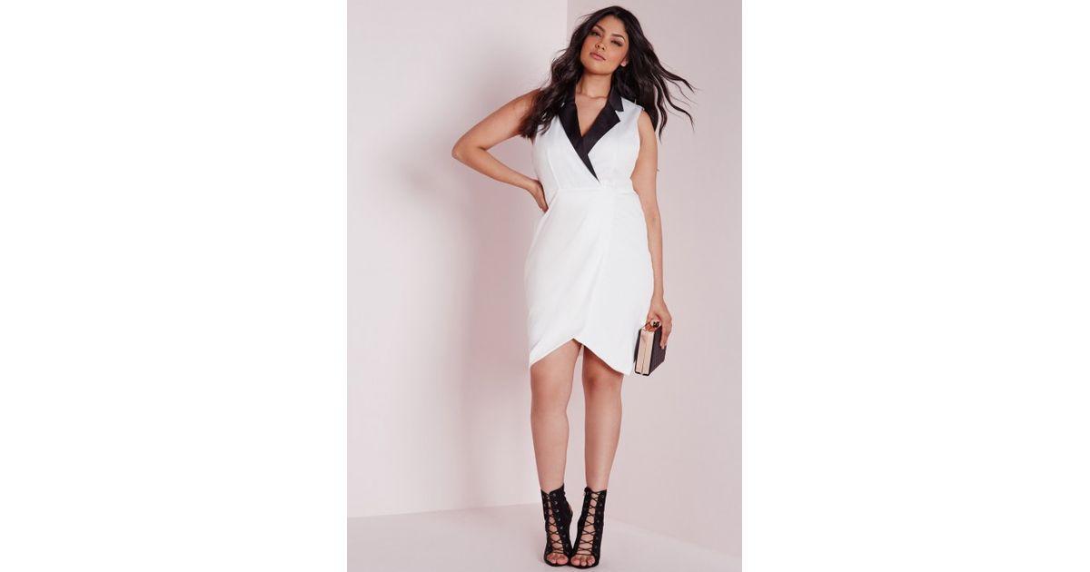 Missguided Plus Size Collared Tuxedo Midi Dress White In Black Lyst