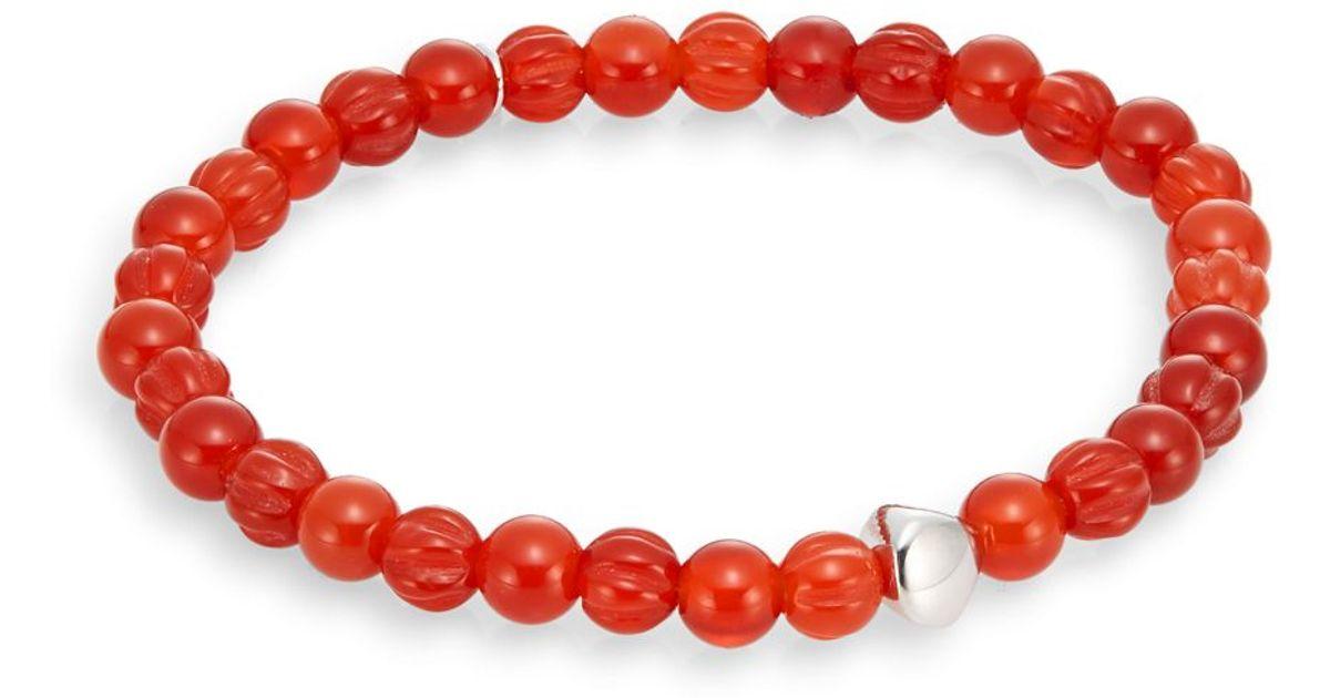 Tateossian Mens Round Carnelian Beaded Bracelet zTVUpN