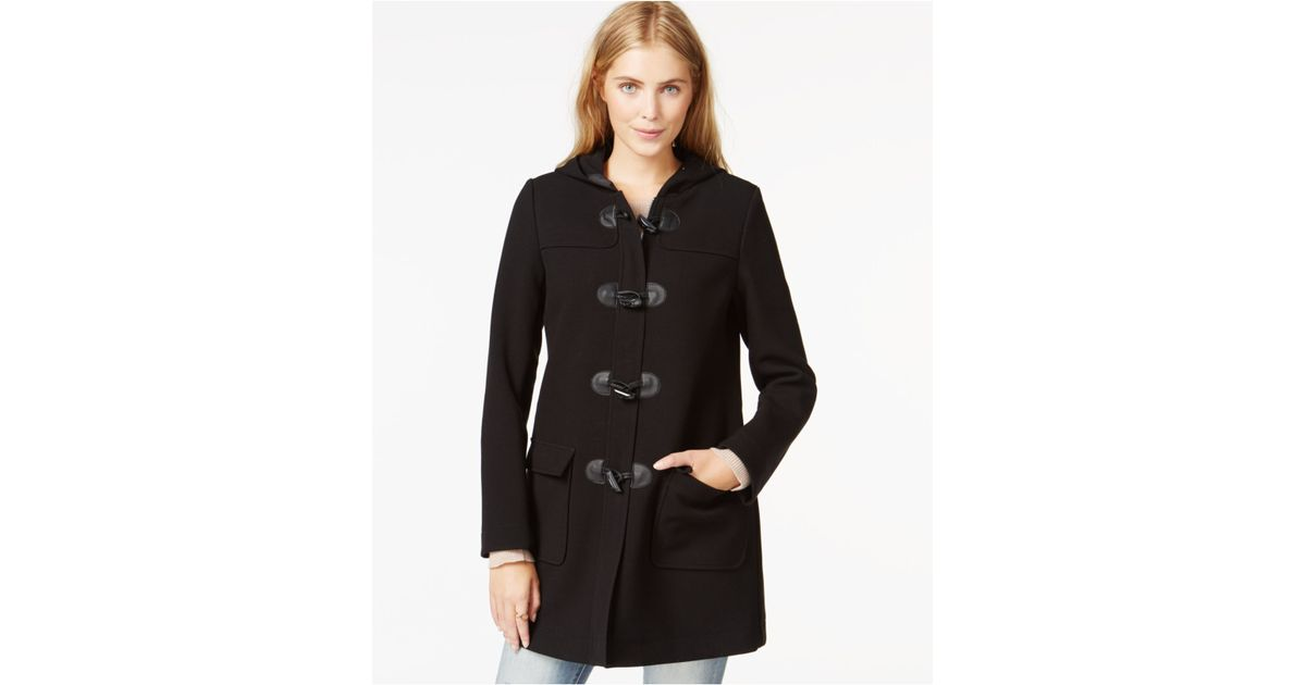 maison jules hooded toggle coat only at macy 39 s in black. Black Bedroom Furniture Sets. Home Design Ideas
