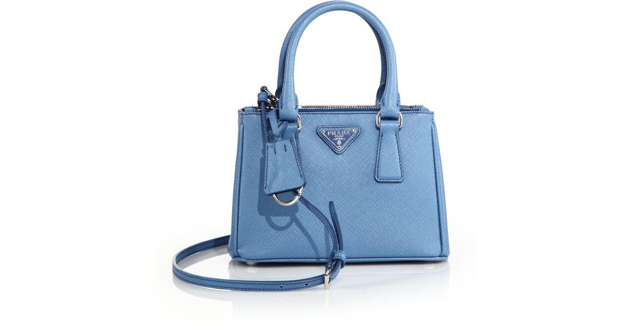 cc4c091c24 prada beige handbag - Prada Mini Saffiano Leather Double-zip Tote in Blue  (mare ...