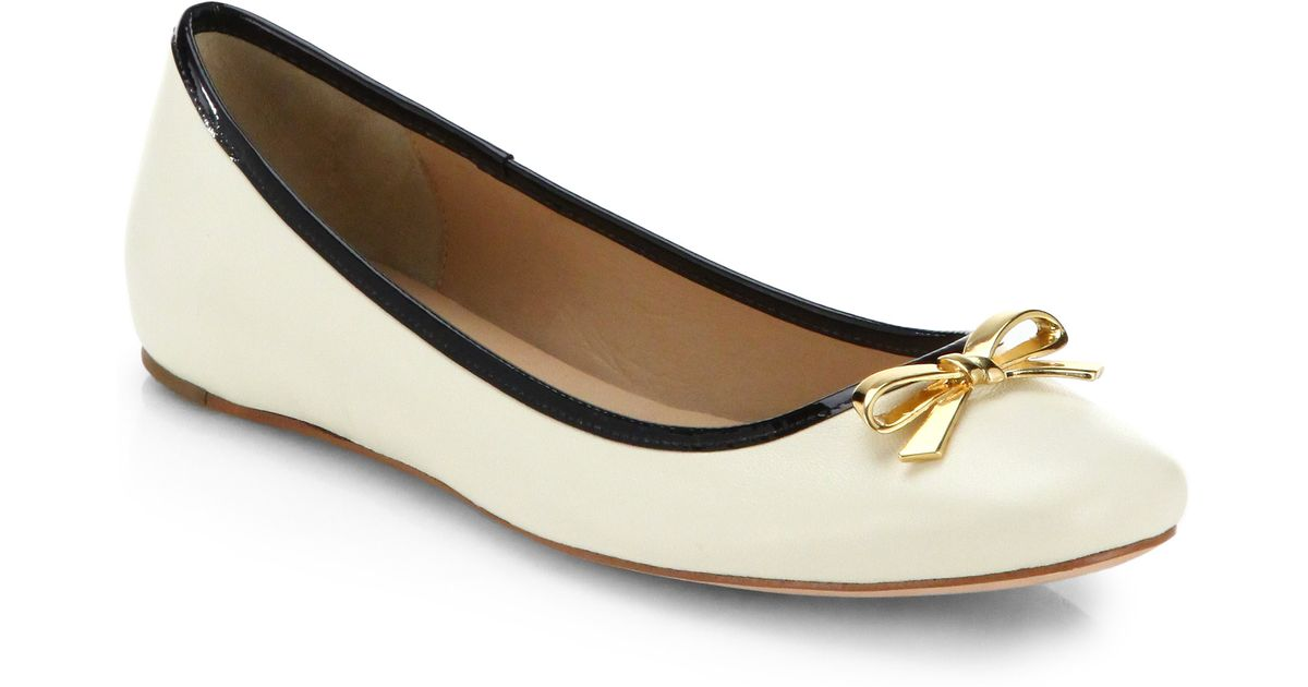 5e8ccdcc32db Lyst - Kate Spade Villa Ballet Flats in White