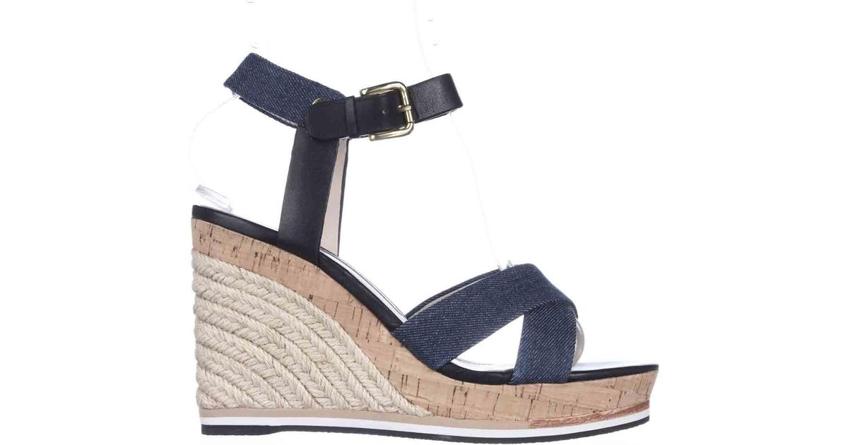 Lata Blue Espadrille Cork Wedge Lyst Connection Sandals French 3lKJc1TF