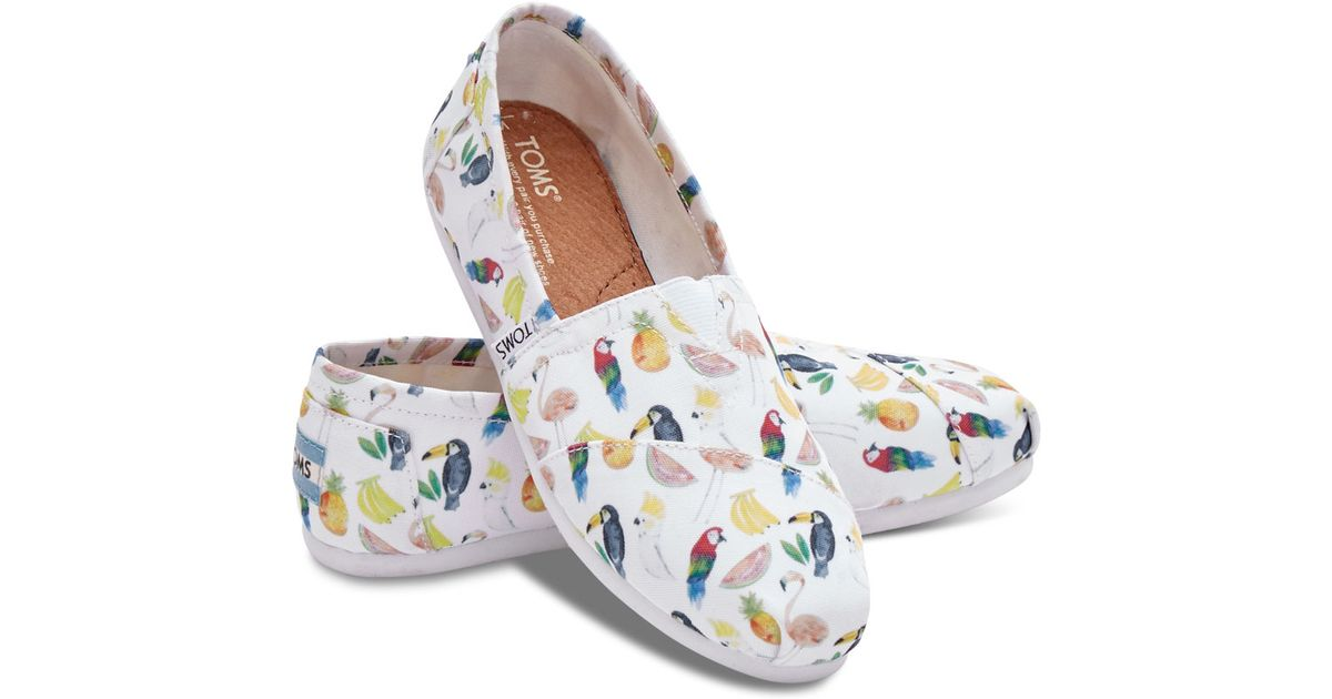toms white canvas printed parrots s classics in