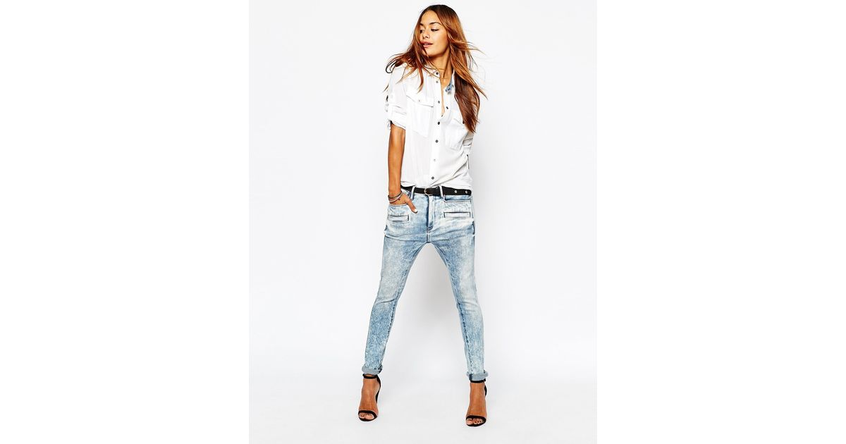 star raw davin 3d boyfriend jeans in blue lyst. Black Bedroom Furniture Sets. Home Design Ideas