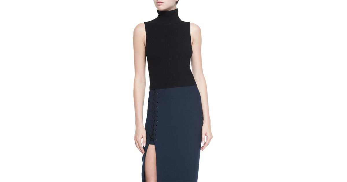 Elizabeth And James Turtleneck Sleeveless Top In Black Lyst