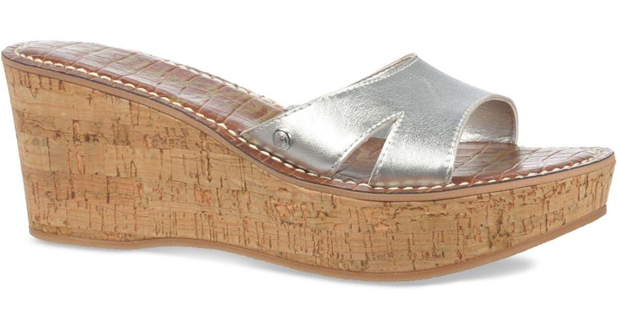 61ed7665317 Lyst - Sam Edelman Platform Wedge Slide Sandals - Reid Metallic in Metallic