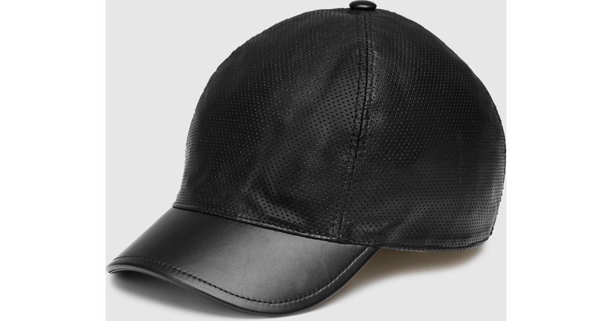473e1f33654dd Gucci Black Leather Baseball Hat in Black for Men - Lyst