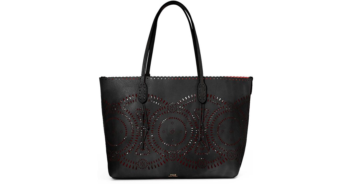 5e4240583c62 Lyst - Polo Ralph Lauren Laser-cut Leather Tote in Black
