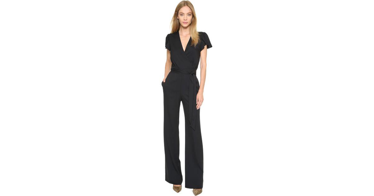 b866edccc6c5 Diane von Furstenberg Kacey Jumpsuit - Black in Black - Lyst