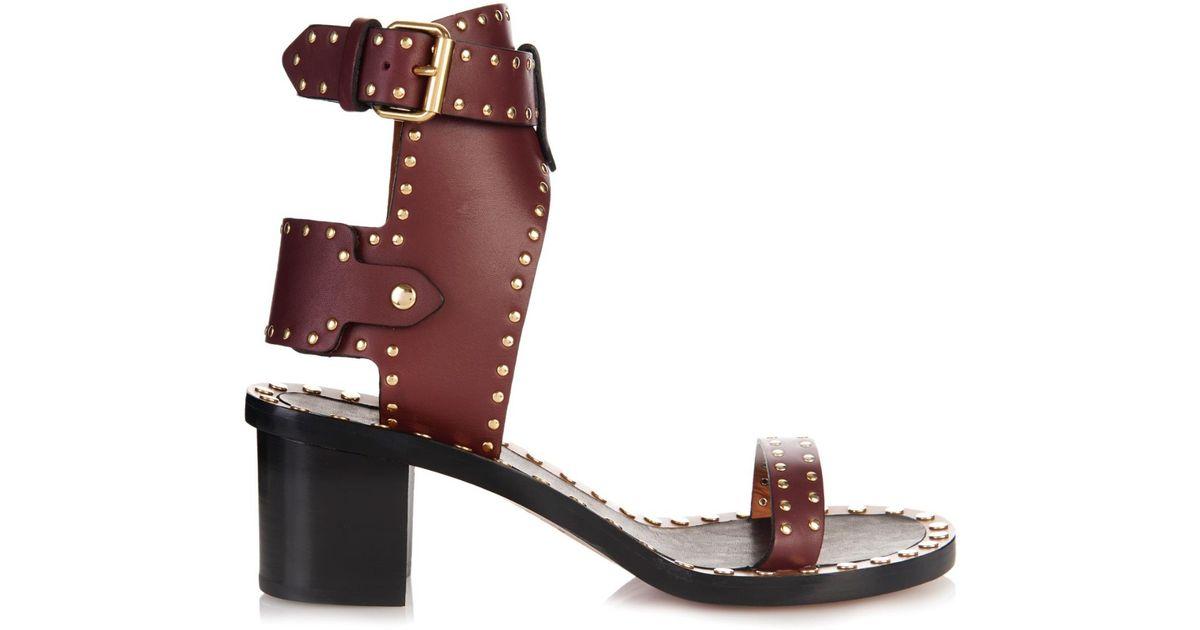 adeba86463b Isabel Marant Jaeryn Studded Leather Sandals in Red - Lyst