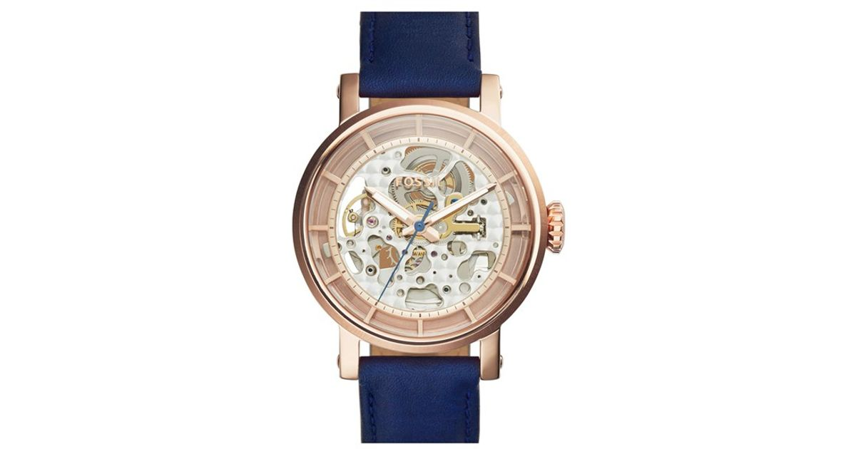 fossil 39 boyfriend 39 skeleton dial leather strap watch in. Black Bedroom Furniture Sets. Home Design Ideas
