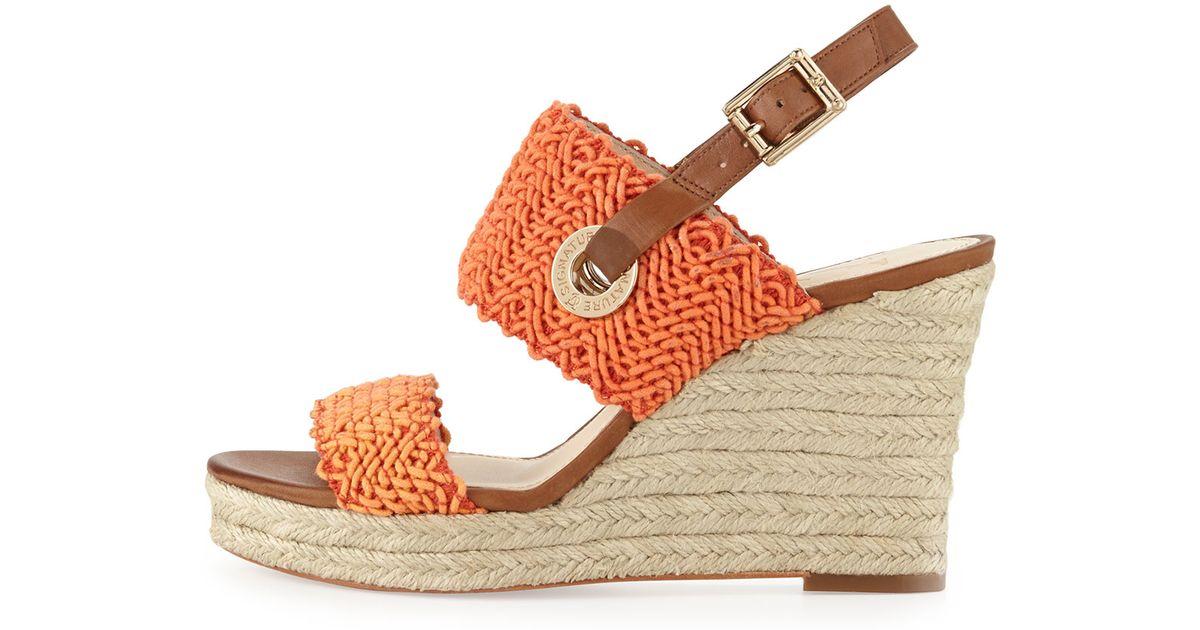6341718ab1d0 Lyst - Vince Camuto Signature Milo Crochet Slingback Wedge Orange 8 12 in  Orange