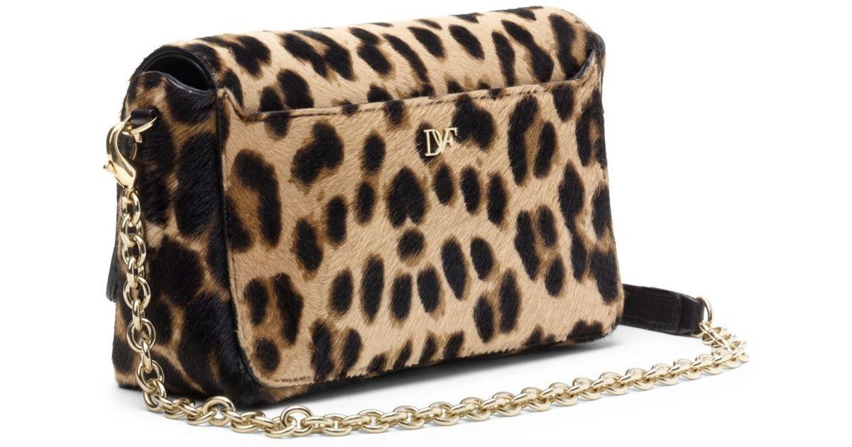3fcb3880287c Lyst - Diane von Furstenberg Flirty Mini Leopard Haircalf Crossbody Bag