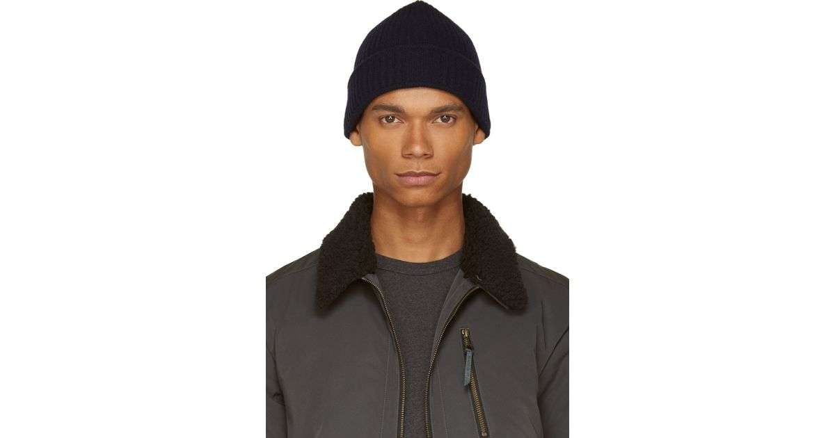 Lyst - Acne Studios Navy Wool Miles Beanie in Blue for Men 8541175cd09