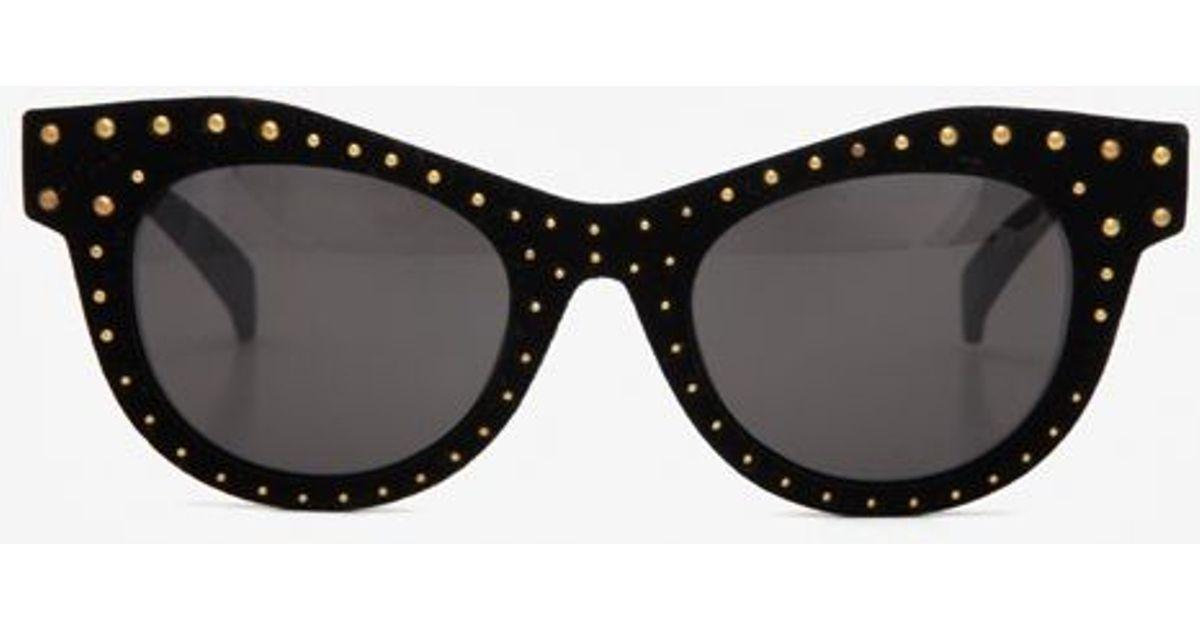 f35eda80e2ba5 Lyst - Italia Independent Velvet Stud Cat Eye Sunglasses Black in Black
