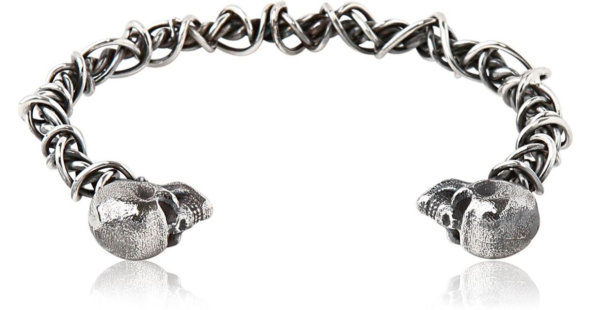 Lyst Emanuele Bicocchi Woven Sterling Silver Skull Bracelet In Metallic For Men