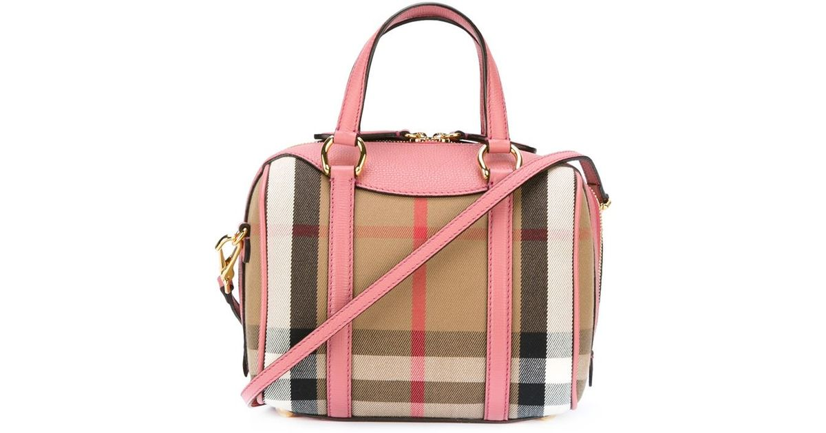 5fe6c30492eb Burberry Small Alchester In House Check Bag in Pink - Lyst