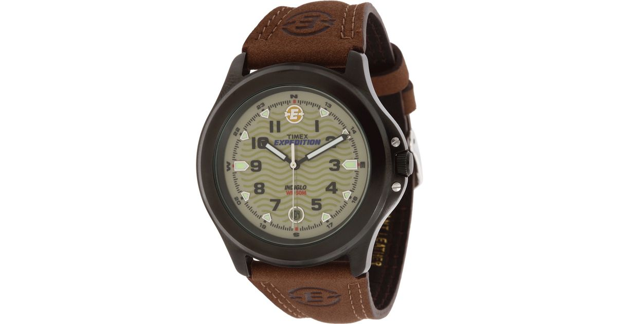Timex Metal Field Expedition 174 Brown Leather Strap Watch In