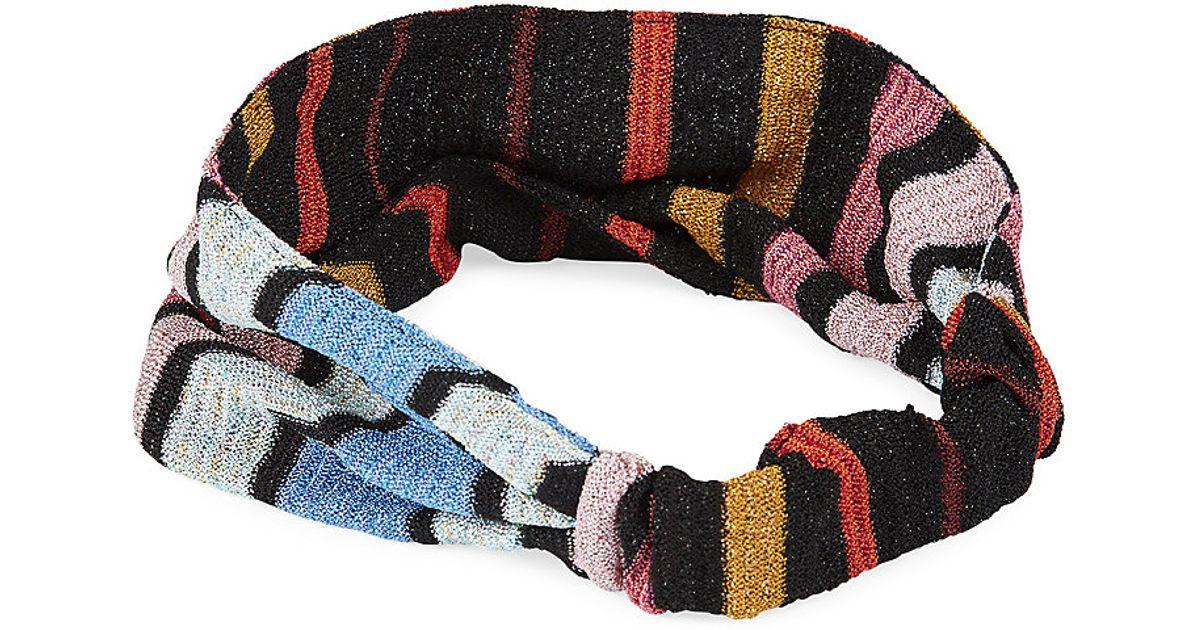 Missoni Wide Zig Zag Headband in Black - Lyst 780ce91b059