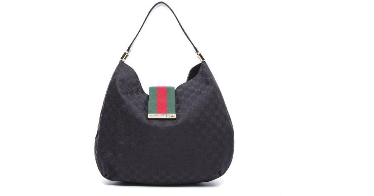 8020fda93b4d Gucci Preowned Black Monogram Canvas New Ladies Web Large Hobo Bag in Black  - Lyst