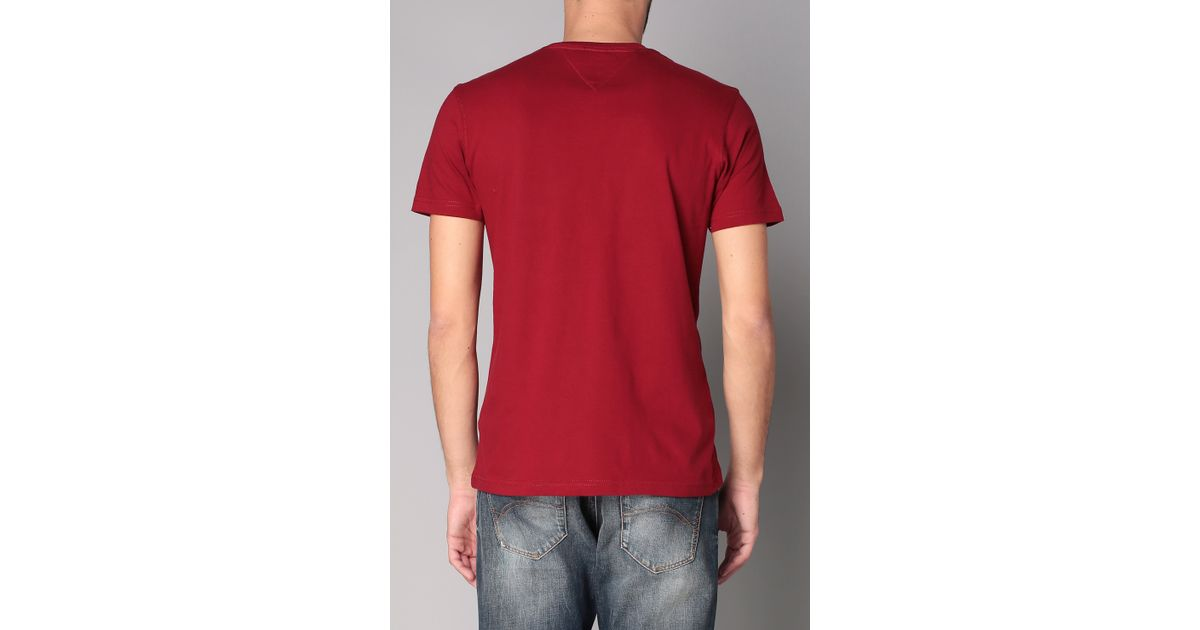 hilfiger denim short sleeve t shirt in red for men lyst. Black Bedroom Furniture Sets. Home Design Ideas