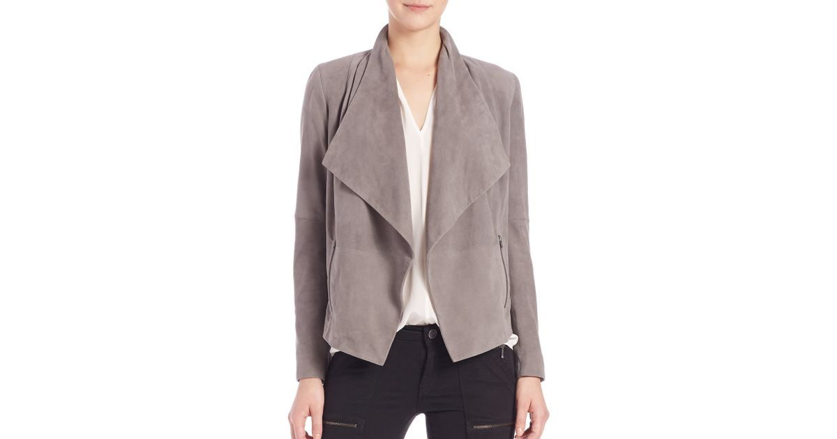 kooples brown in camel the faux jacket normal drapes product beige draped suede clothing lyst gallery