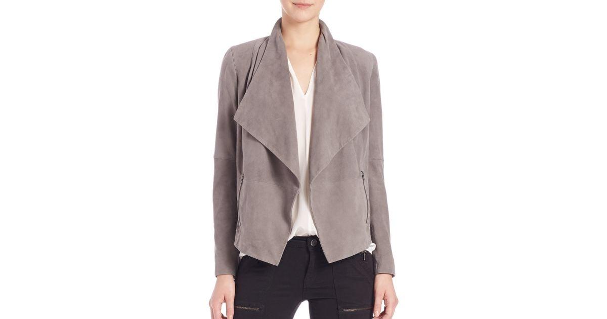 jackets stella drapes bcbg com clothing en crop draped sale outerwear jacket suede